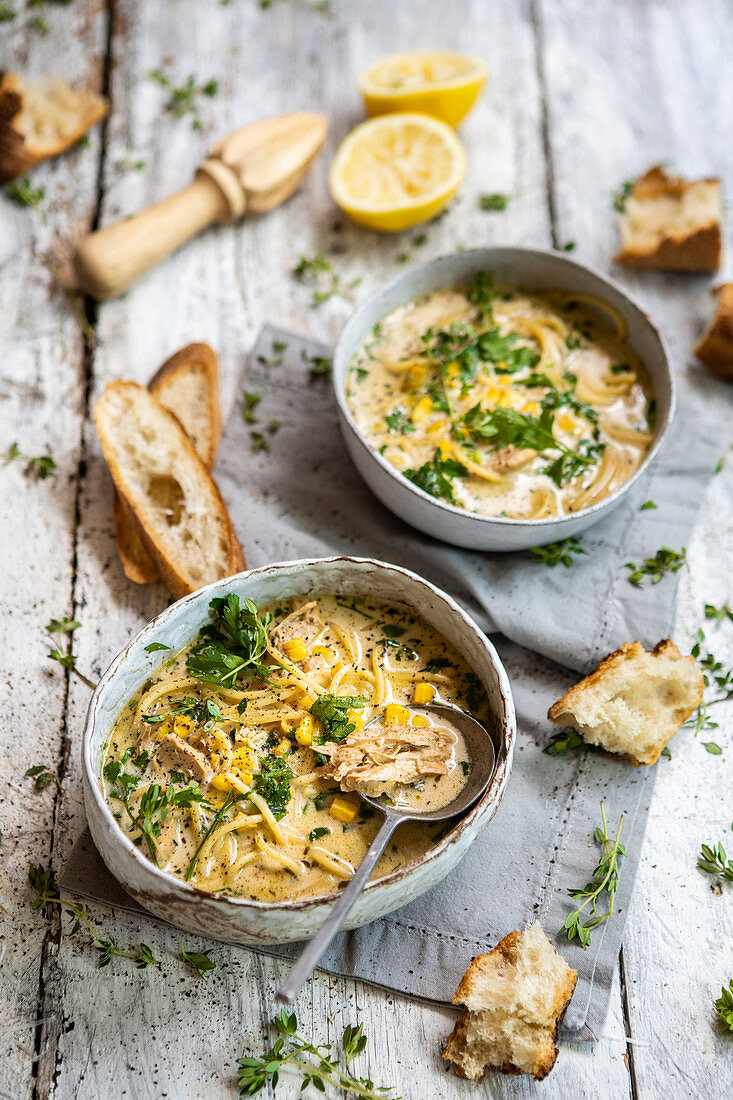 Creamy chicken soup with pasta and corn