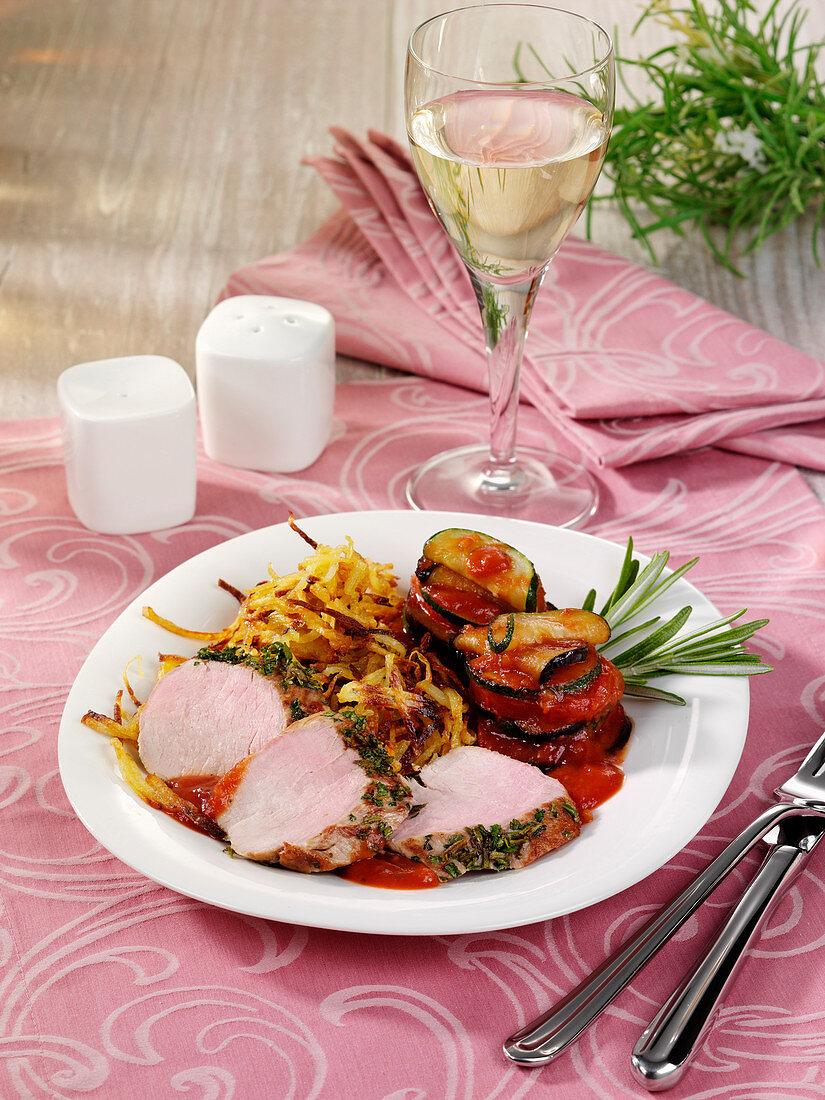 Pork fillet in a rosemary crust