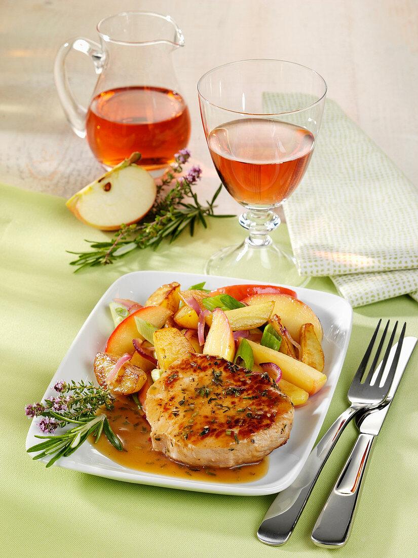 Oven roast pork steak