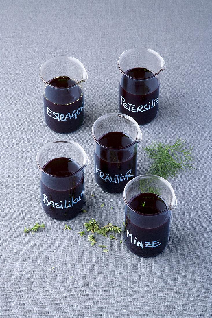 Herb oil with mint, parsley, tarragon, basil and Thai basil