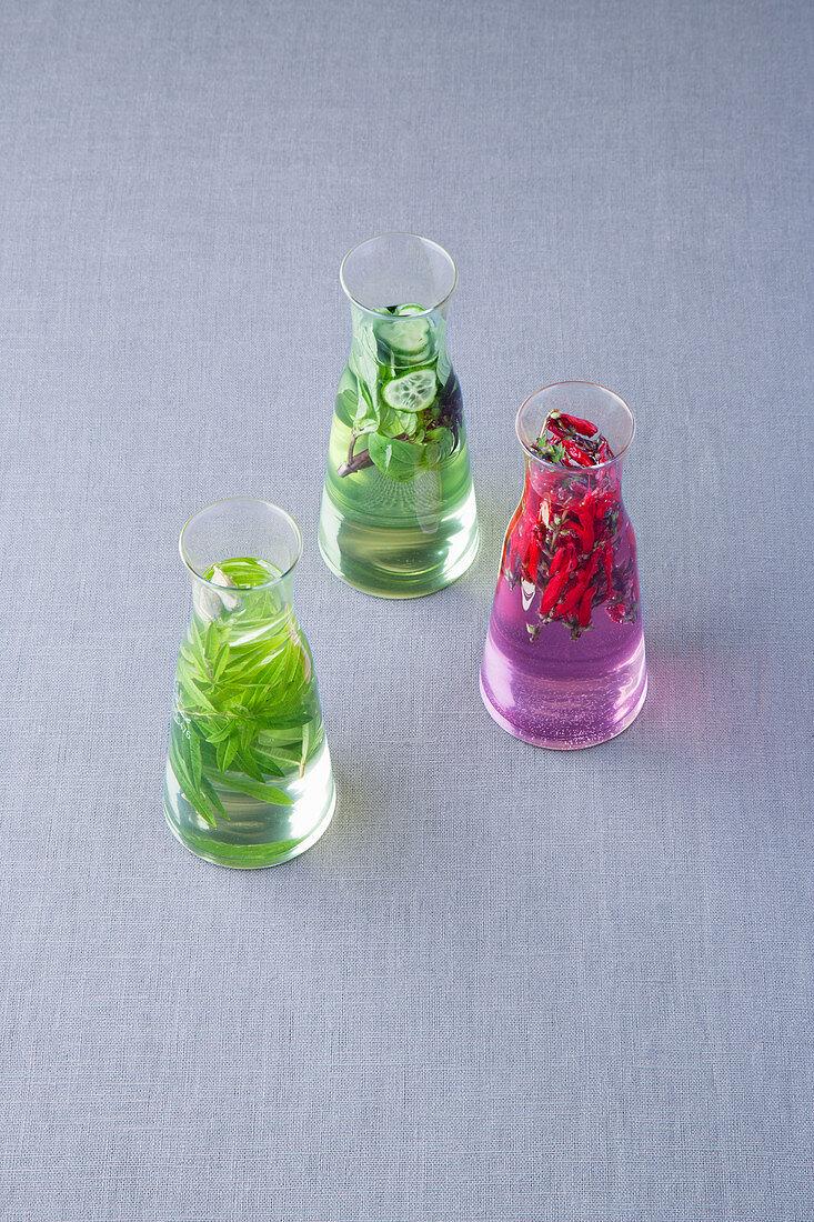 Cucumber and basil syrup, verbena and cardamom syrup and scarlet beebalm syrup