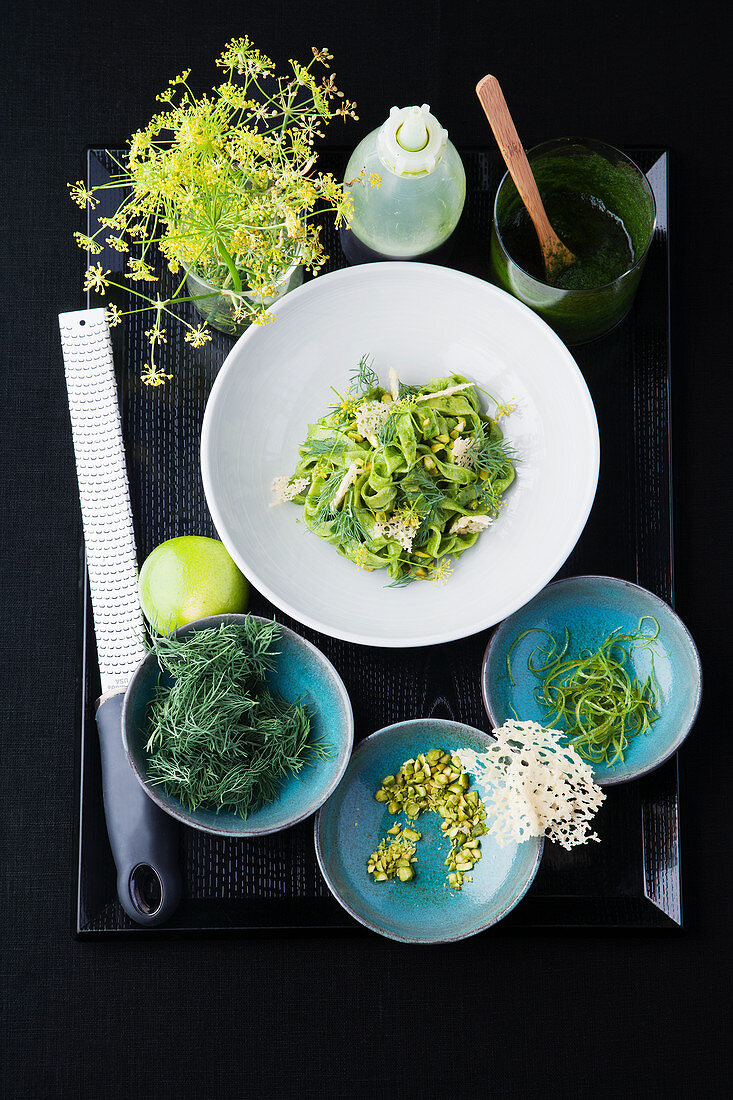 Spinach tagliatelle with dill and lime