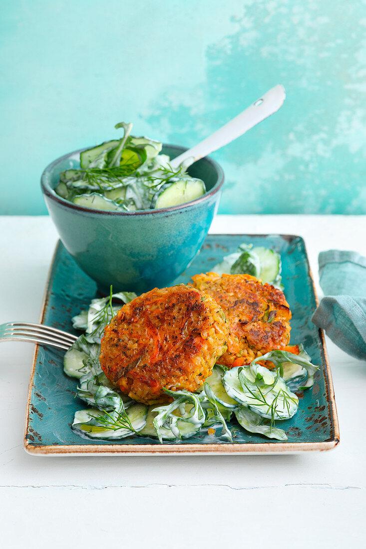 Vegetable meatballs on cucumber salad