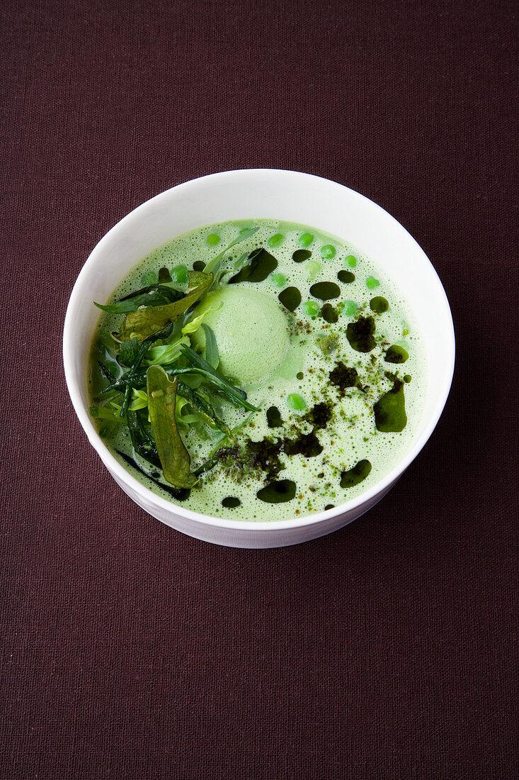 Pea and tarragon soup with pecorino flan