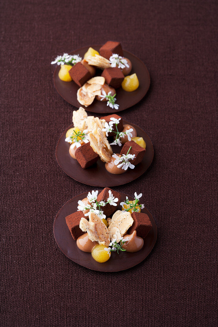 Chocolate coriander drops with passion fruit gel