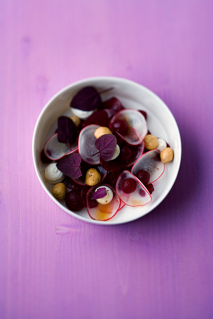 Beetroot salad with pink pepper and hazelnuts