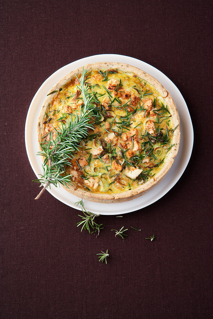 Spring onion and rosemary quiche with sheep's cheese