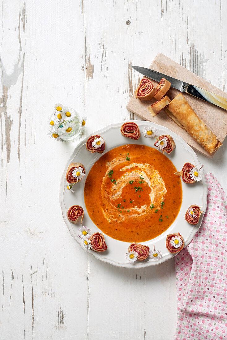 Tomato and daisy soup