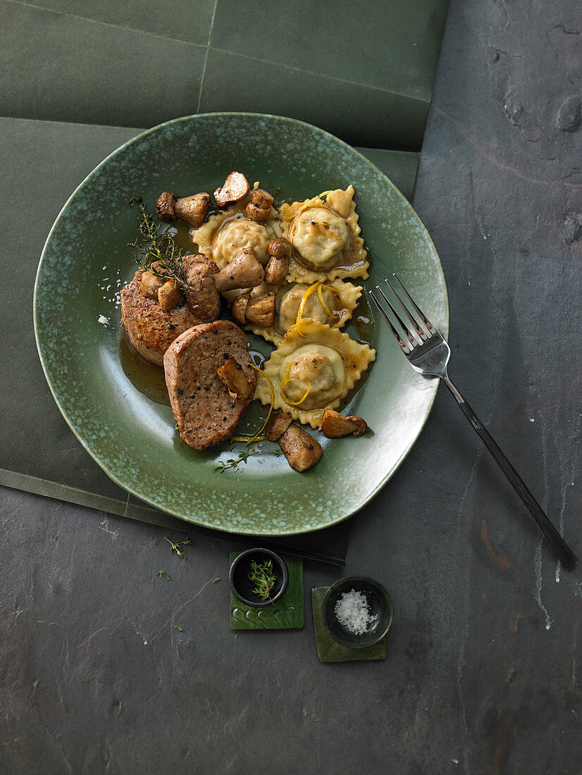 Porcini ravioli in lemon-thyme butter with veal medallions