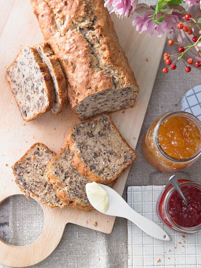 Banana and pecan nut bread and jam