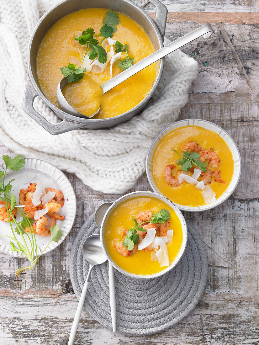 Carrot and coconut soup with shrimp