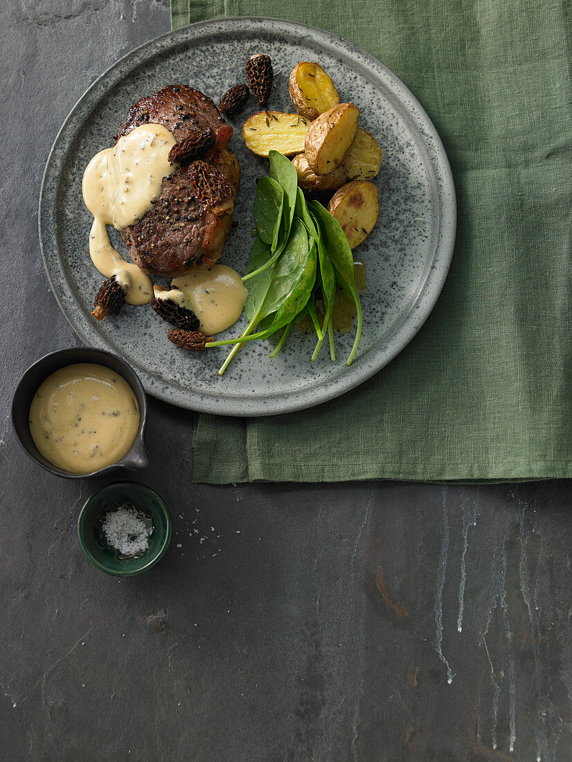 Roast beef with morel hollandaise and roasted potatoes
