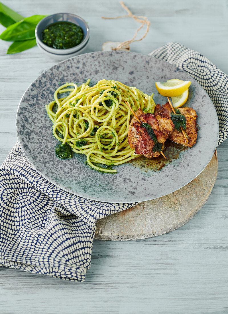 Wild garlic spaghetti with saltimbocca