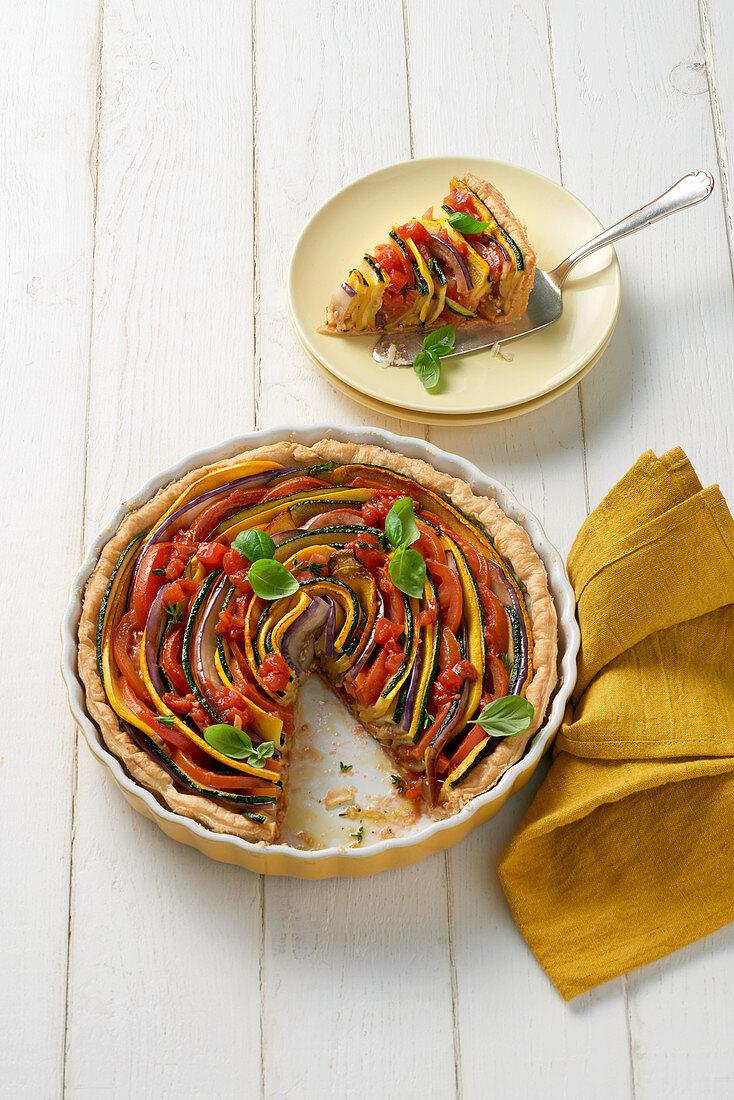 Colourful vegetable tart