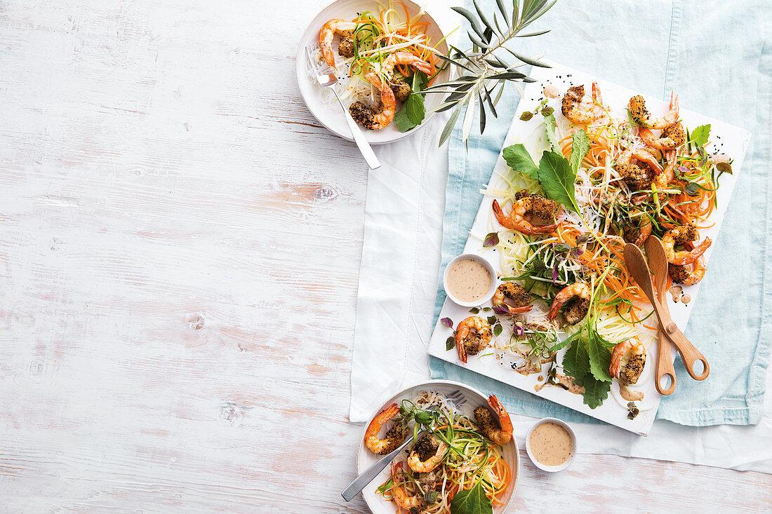 Crispy nori prawn noodle salad