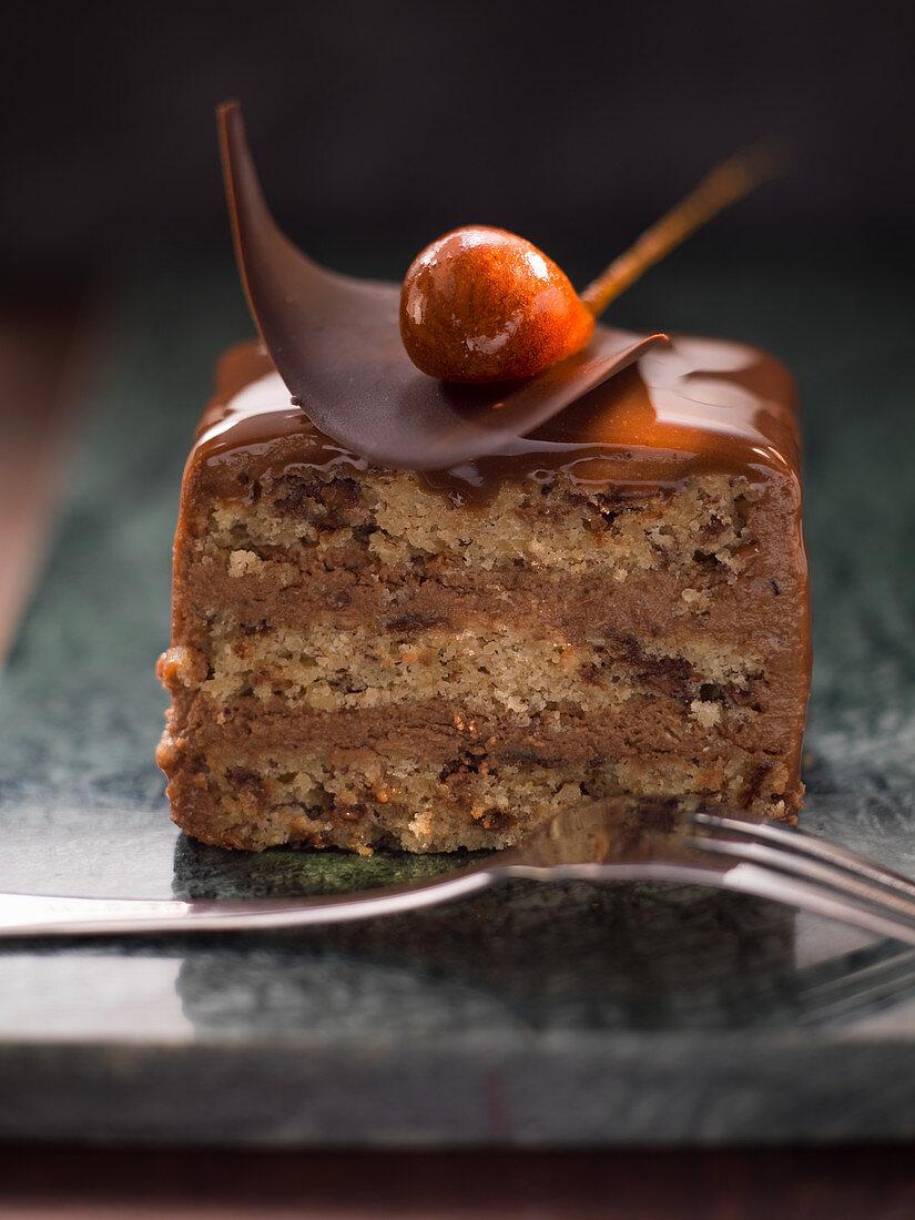 A gianduia slice (chocolate cake, Italy)