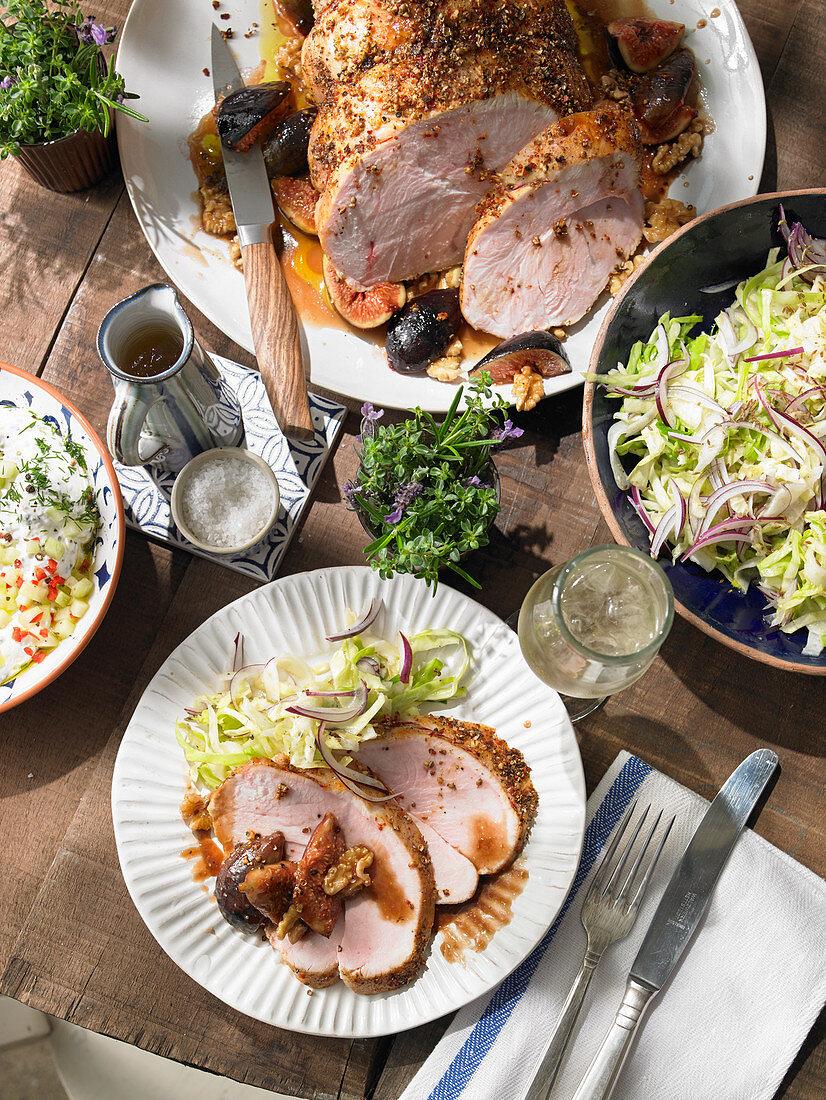 Fried turkey gyros with figs, coleslaw and tzatziki (Greek)