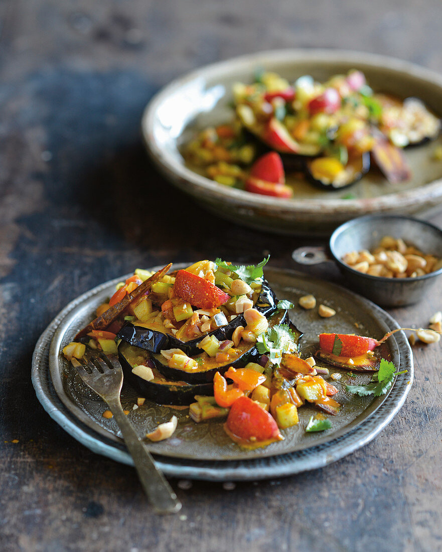 Crispy eggplant with bengali salad