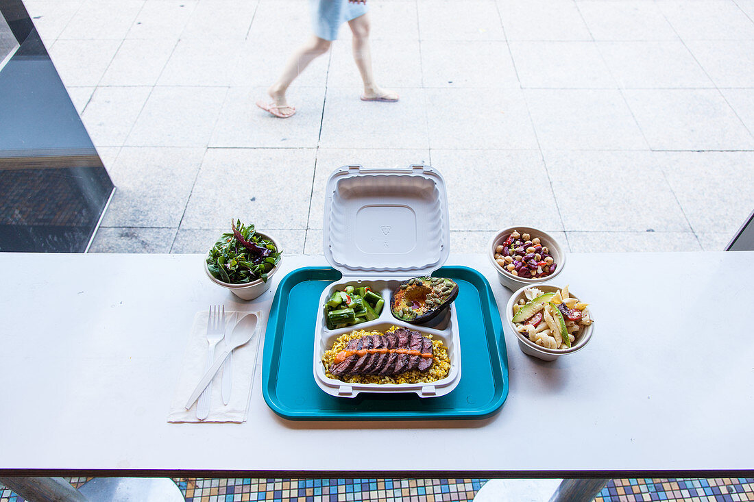 Grillled hanger steak, salads and charred avocado