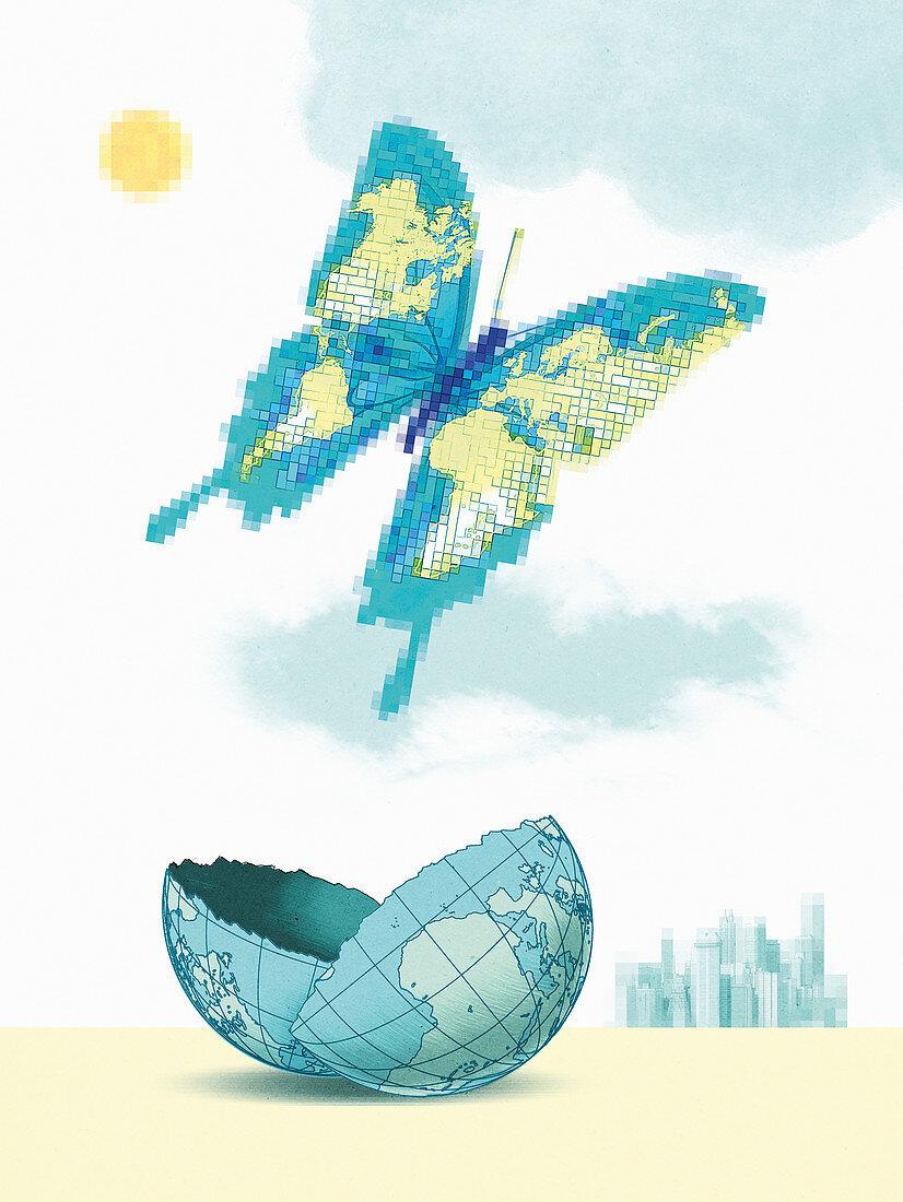 Butterfly emerging from broken globe, illustration