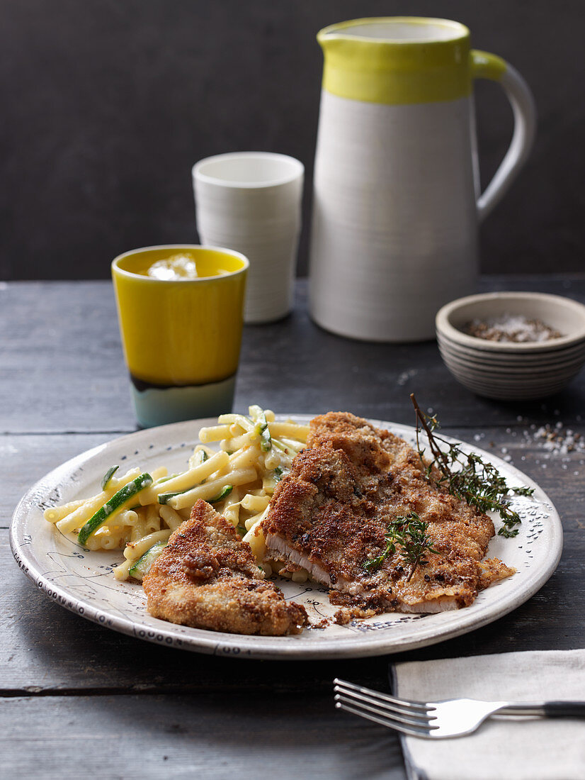 Breaded veal schnitzel flavored with porcini powder
