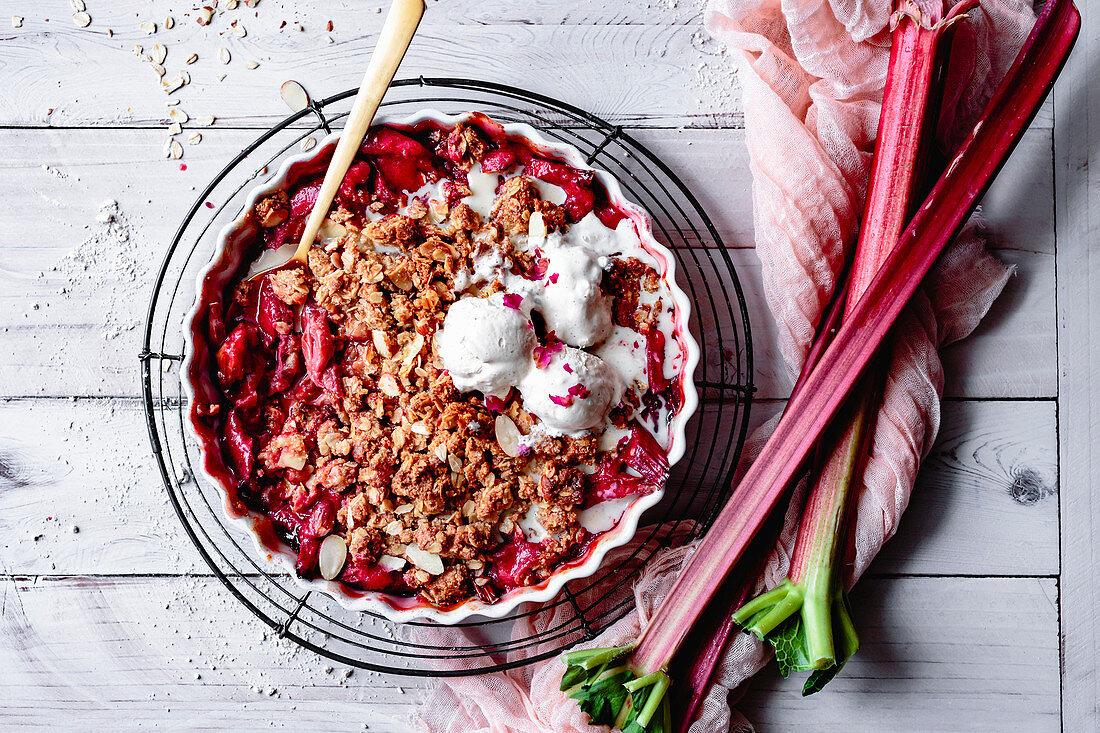Rhubarb crisp on a cooling rack