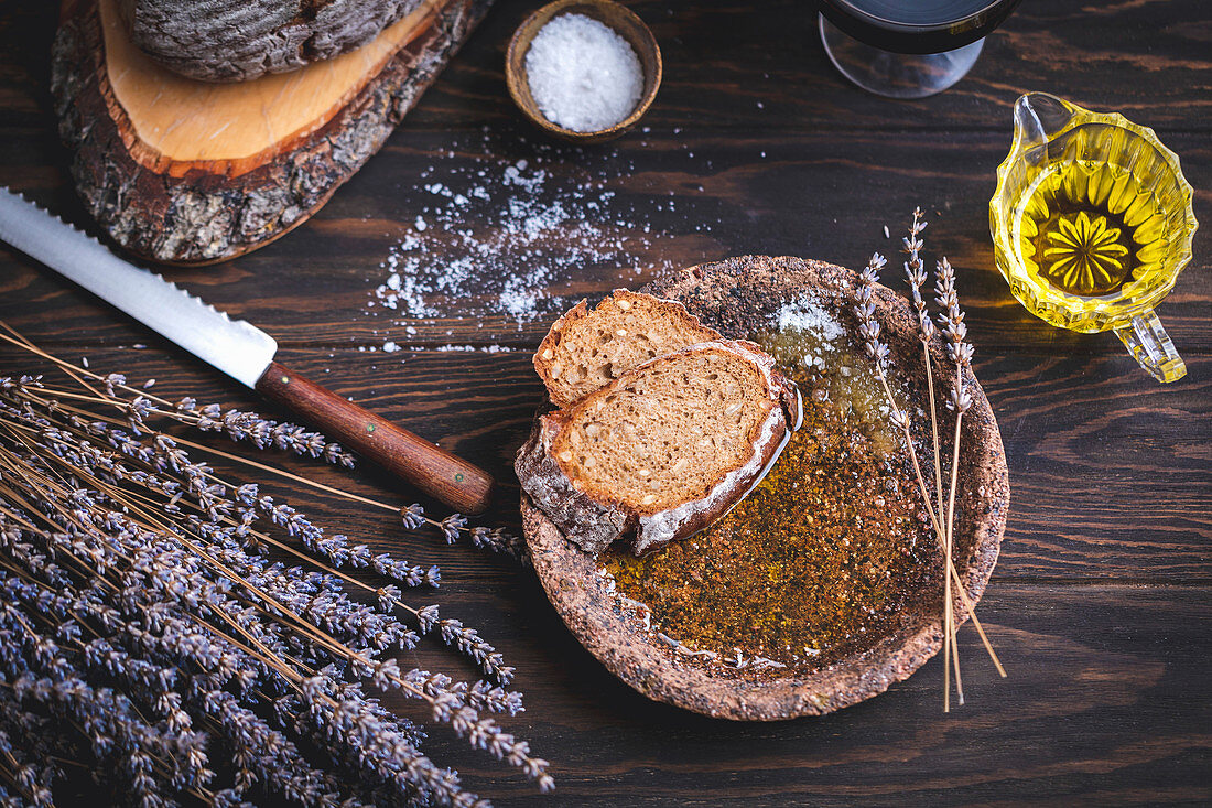 Rye bread with olive oil and salt