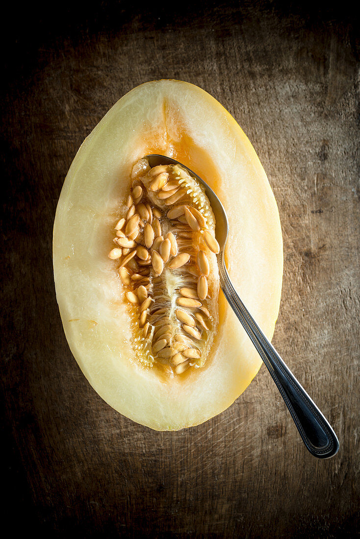 Honeydew Melon with a spoon