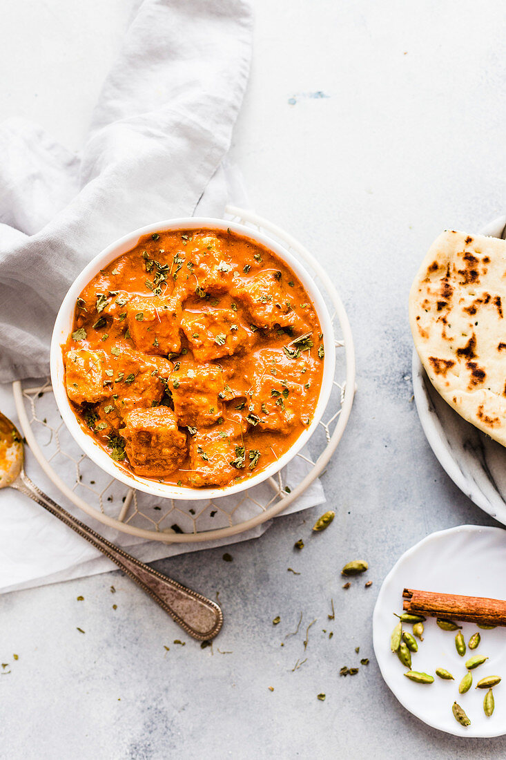 Vegan Tofu Curry served with Naan Bread