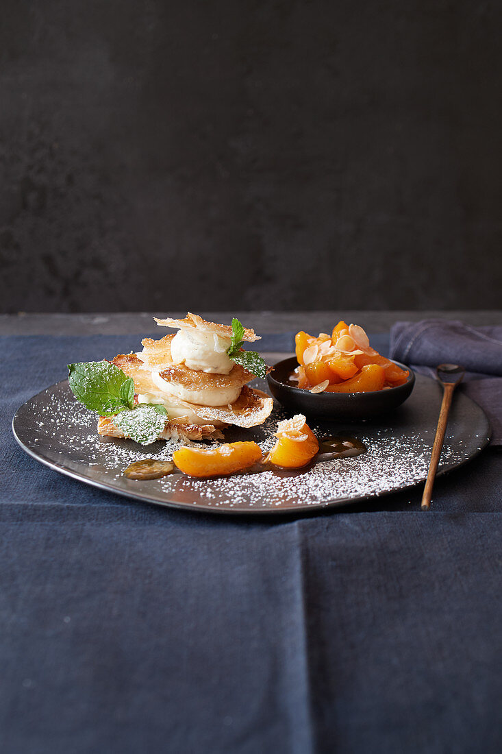 Caramelised puff pastry with roasted apricot