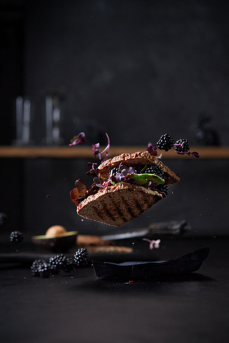 A falling sandwich with avocado, blackberries and salad