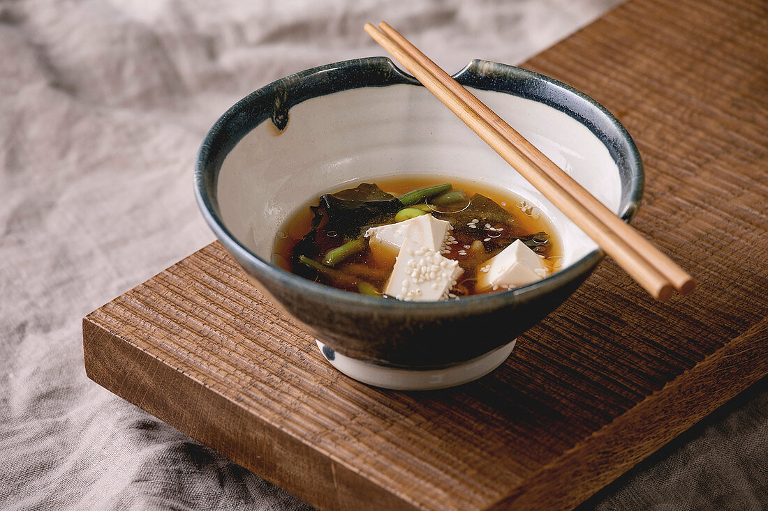 Miso soup with tofu, edamame and green beans (Japan)