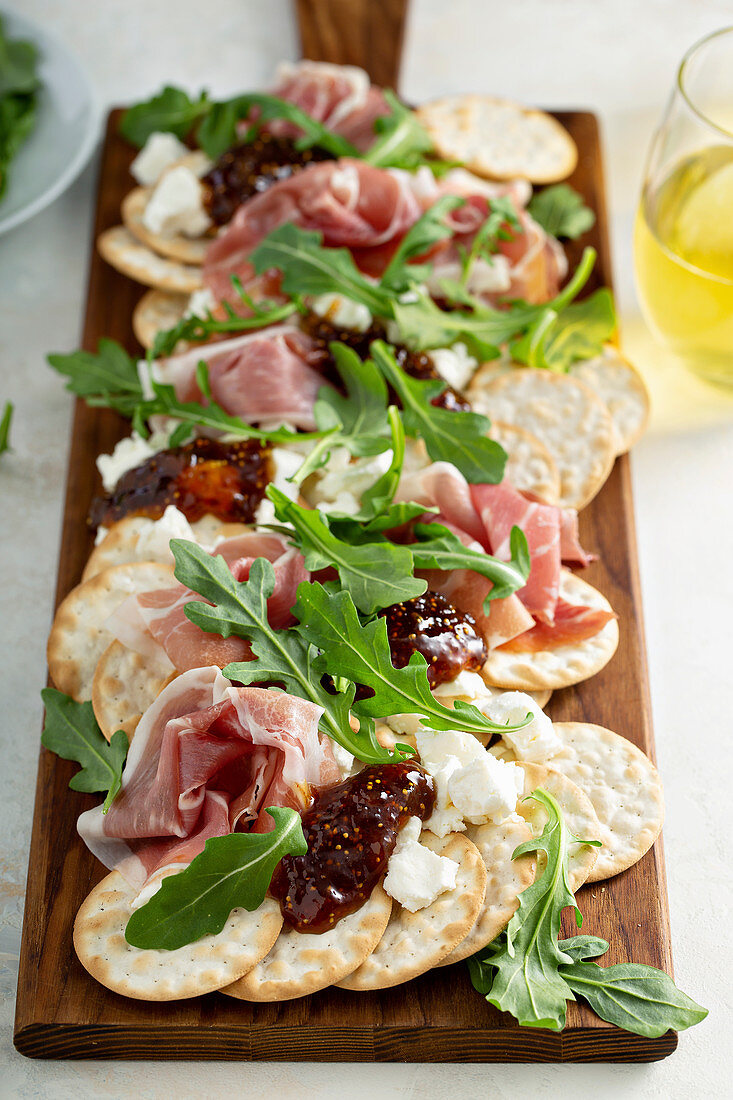 Goat cheese, prosciutto and fig jam snack board