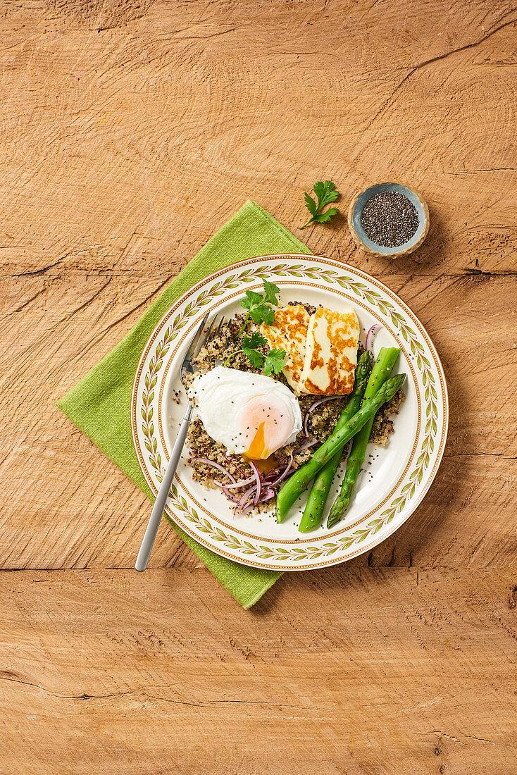 Warm Quinoa Salad with Asparagus Poached Egg and Halloumi