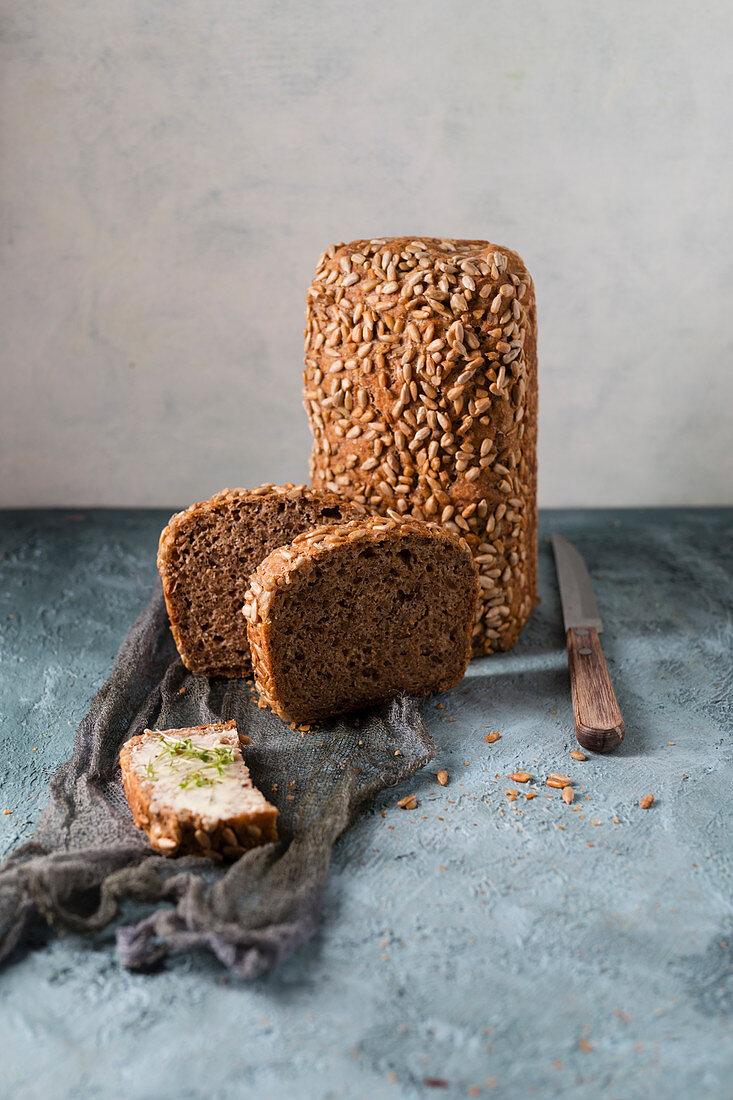 Homemade spelt sunflower seed bread