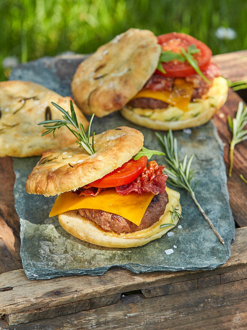 Hamburger on wine with rosemary focaccia