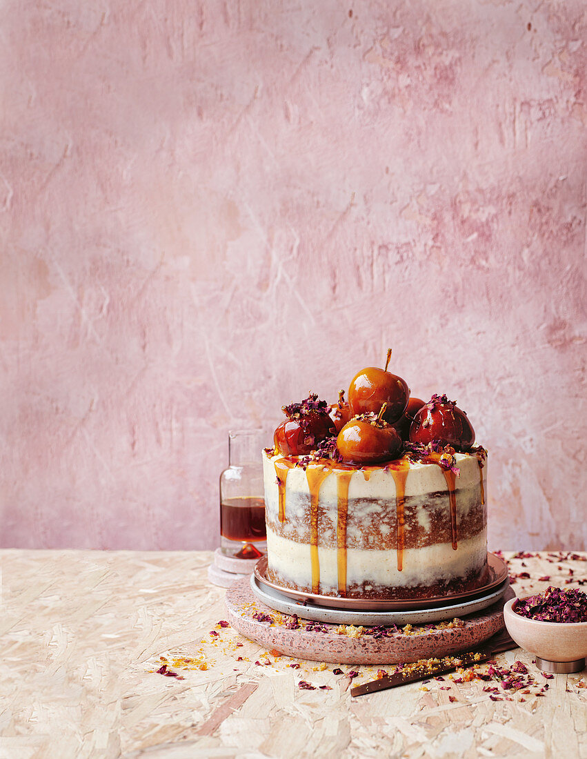 Apple cake with caramel, maple and toffee