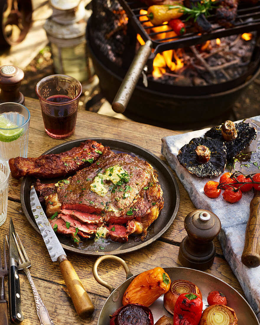 BBQ steak with vegetables
