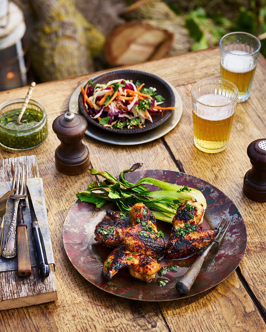 Plated sweet chilli chicken wings with salad