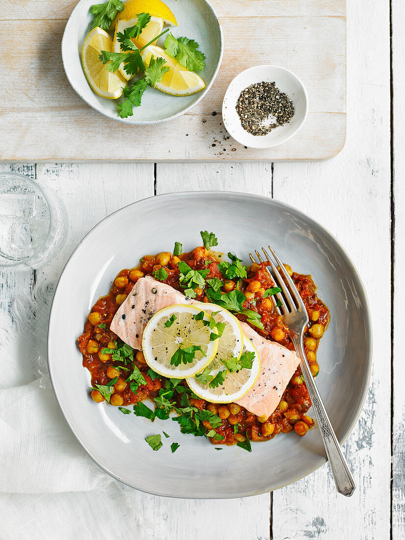 Grilled fish with spiced chickpea stew