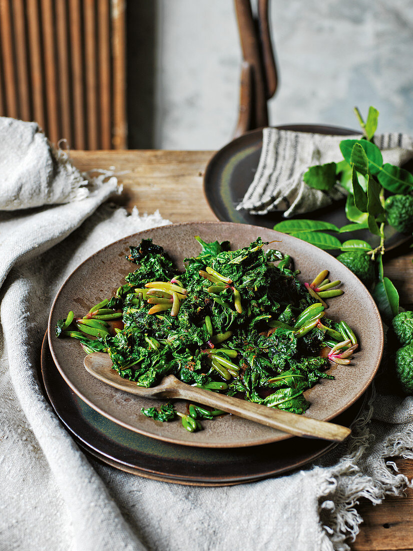 Stir-fried native greens (Asia)