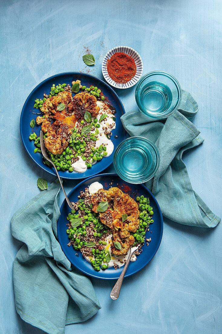 Oven roasted spiced cauliflower steaks with quinoa, lemon and tahini greek yoghurt