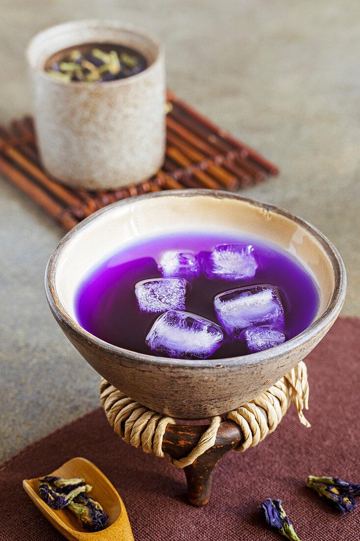 Butterfly pea flower tea in bowl