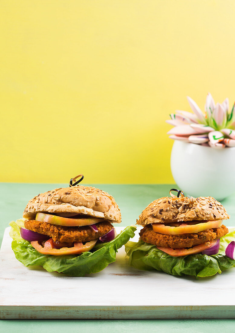 Vegan burger made with spelt bun and soy and vegetable patty with lettuce salad, tomato and red onion