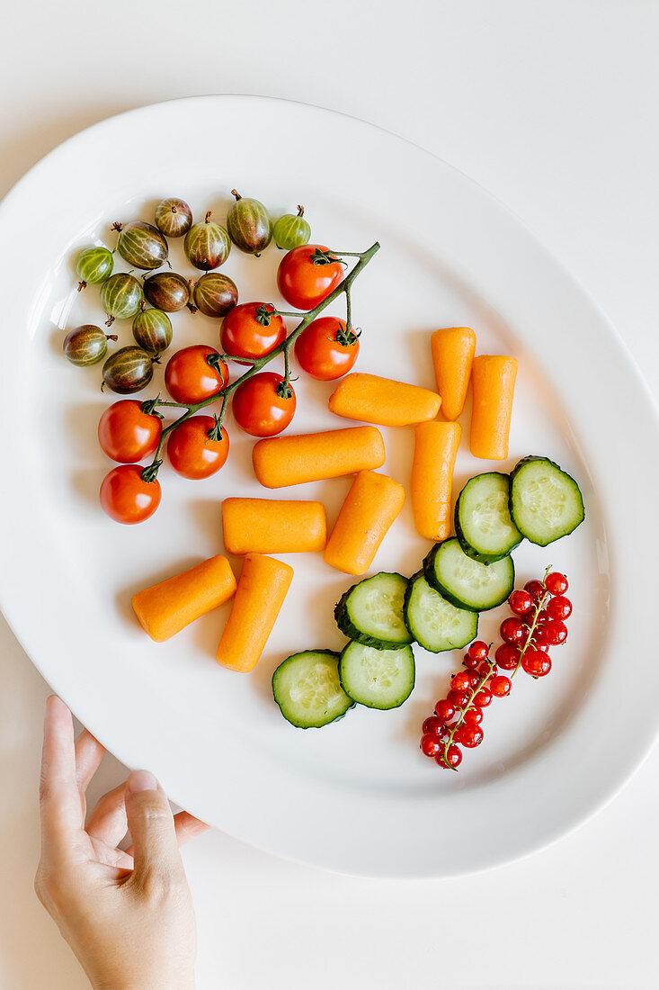 Healthy fresh veggie and berry snacks