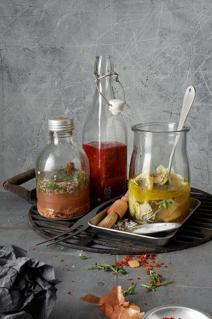 A gin and herb marinade, a whisky-ketchup marinade and a BBQ-pineapple marinade