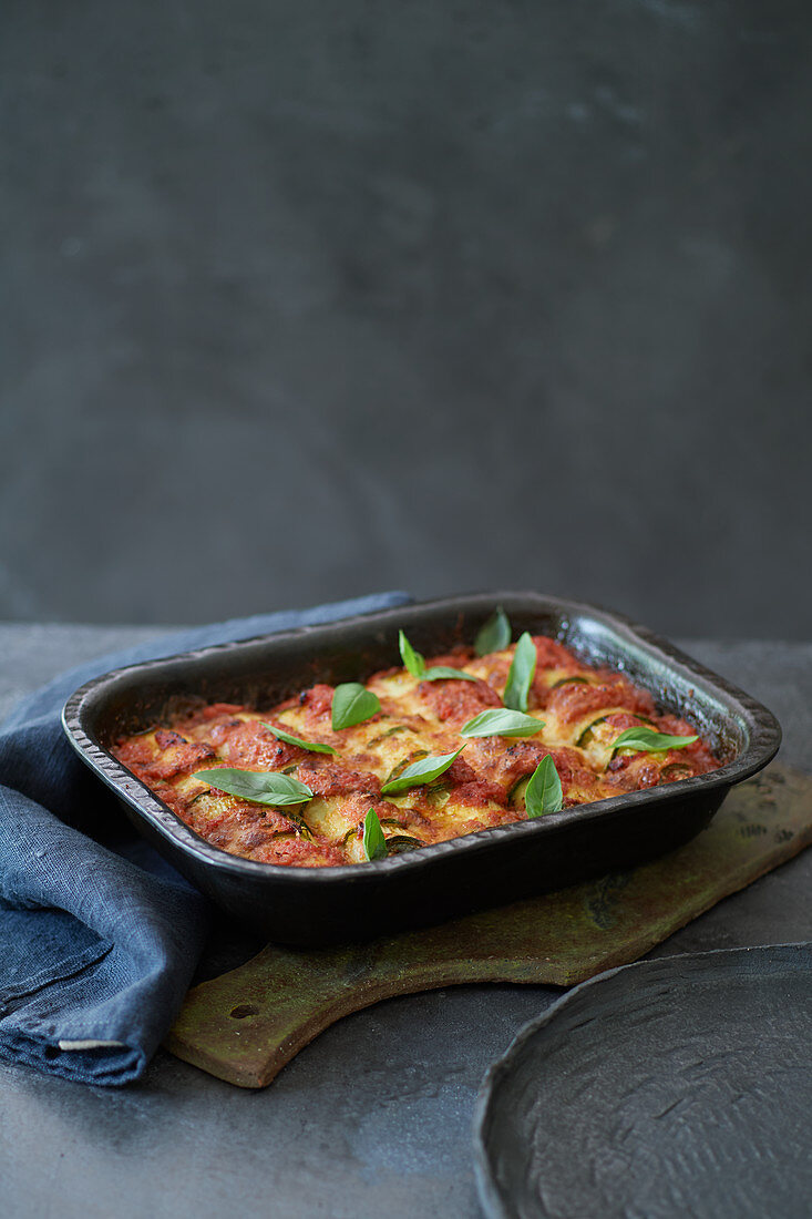 Zucchini cannelloni with ricotta and parmesan filling