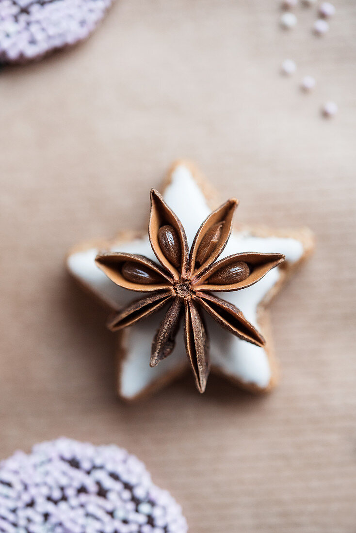 Cinnamon star biscuit with star anise