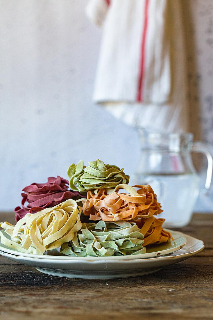 Pasta in pastel colours