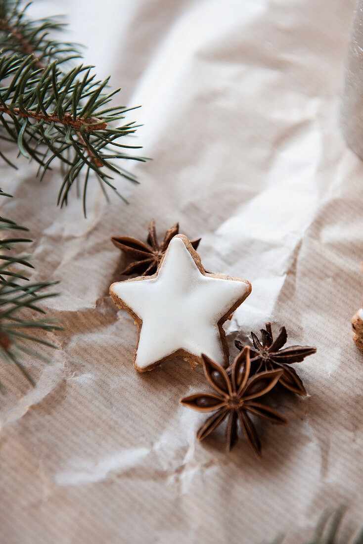 Cinnamon star biscuits, star anise and fir branches on brown paper